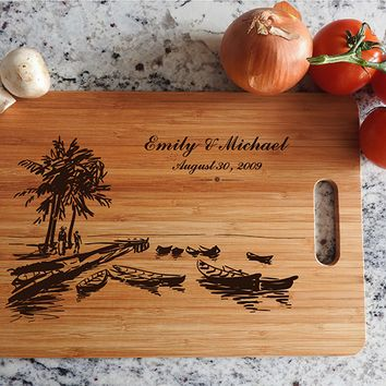 ikb615 Personalized Cutting Board Costa Rica beaches wooden wedding gift wedding