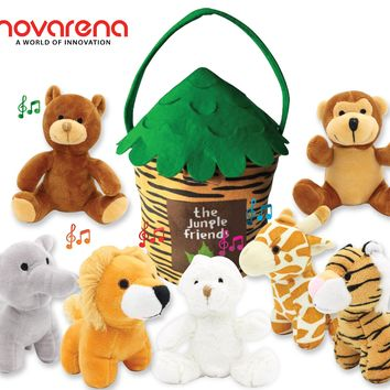PRE-ORDER - SHIPS 12/7/18 Limited Edition NOVARENA Talking Plush Animals: 8-Piece Jungle Friends Stuffed Animals+ Plush Toy House Set|Large 
