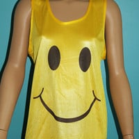 Smiley Face Mesh Jersey Tank