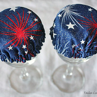 Reusable Cover Wine Cup Glass Fireworks by TailaCustomDesigns