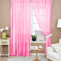 9 Colors Solid Valances Voile Door Window Curtain Balcony Curtain Living Room Bedroom Curtain FULI