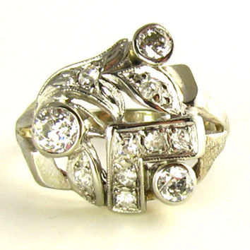 Vintage Cocktail Ring 1/2 carat with Old European Cut Diamonds