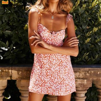 Fashion New Summer Floral Print Straps Dress Women Red