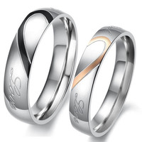 Heart Shape Matching Titanium Promise Ring for Couple 316L Stainless Steel Wedding Bands Rings #sclm-ltd