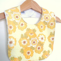 Girls bib in yellow vintage florals baby girl by ThisisLullaby