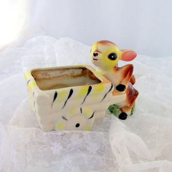 Deer Planter Glazed Ceramic Bambi Figurine Baby Shower Gift Easter Basket 1950s Collectible Item 1302