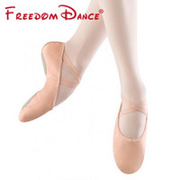 Professional Ballet Dance Slippers Genuine Leather Split Soles Children Girls Women's Soft Ballet Dance Shoes Pink Plus Size