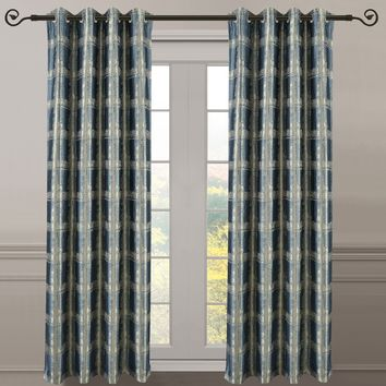 Teal 104x108 Pair (Set of 2) Top Grommet Window Curtain Panels Abstract Jacquard Studio