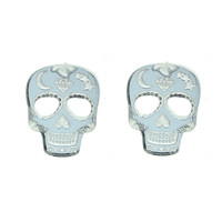 Sugar Skull Earrings in Mirror Silver