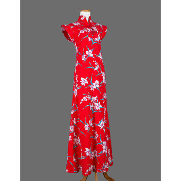 1960's Hawaiian Dress / 60's Asian Style Floral Maxi Dress / Small / 20% COUPON SALE