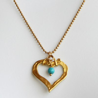 Gold Turquoise Heart Necklace, December Birthstone