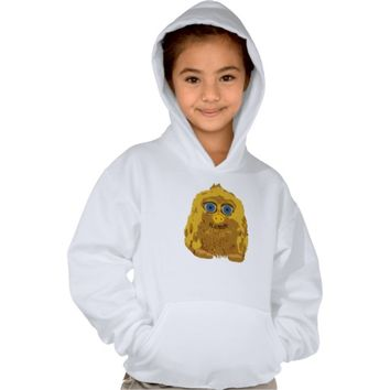 Cute Yellow Yeti Bigfoot With Big Blue Eyes Hooded Pullover