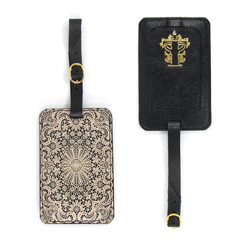 Luxury Leather Luggage Tag - Lace