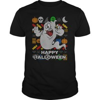 Funny Ghost Ugly Holiday Shirt Happy Halloween