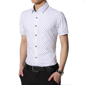 Skull Print Short Sleeve Collar Shirts