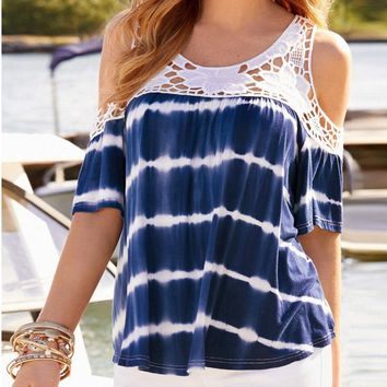 Women's Plus Size Casual Blouse Shirt Tops Cold Shoulder Lace Short Sleeve Tees