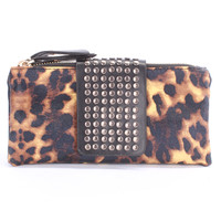Leopard Studded Accent Faux Leather Wallet Clutch