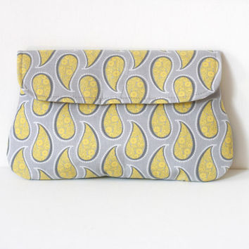 Paisley Clutch in yellow and grey, cotton clutch, simple clutch purse