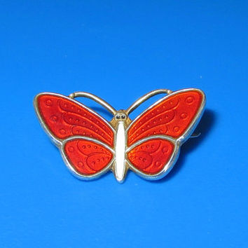 "Norway Sterling Butterfly Pin, Aksel Holmsen, Basse-Taille, Red & White Enamel Butterfly Brooch Pin, Tiny, 7/8"" x 5/8"""
