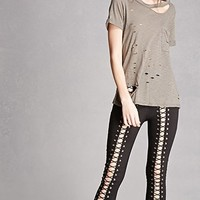 Lace-Front Leggings