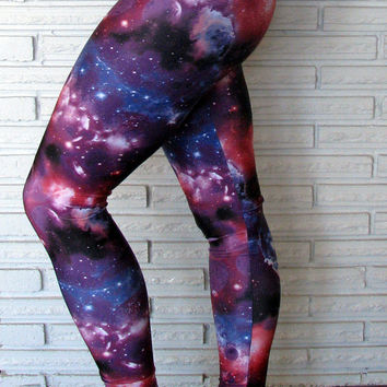 Galaxy Leggings, Purple Spandex Leggings, Cirque Aerial Pants, Custom