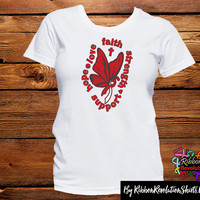 Red and White Ribbon Butterfly Faith Shirts (Aplastic Anemia, DVT, and MDS Awareness)