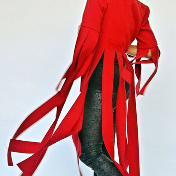ON SALE 25% OFF Extravagant Red Jacket / Funky Red Fringe Jacket / Extravagant Red Jacket with Long Fringes Tc67 / La Rambla Collection
