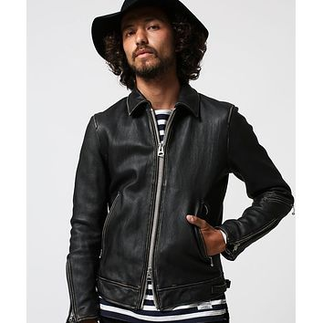 High fashion brand slim fit vintage genuine leather jacket men washed do old sheepskin biker jacket for men style leather coat