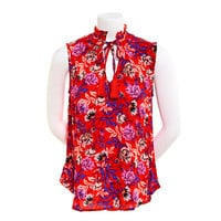 Juniors Self Esteem Sleeveless Floral Crepe Blouse