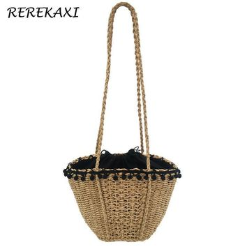 REREKAXIHandmade Bohemian Beach Bags For Women 2018,Woven Small Shoulder Bags Summer Knit Handbags Drawstring Basket Bag Tote