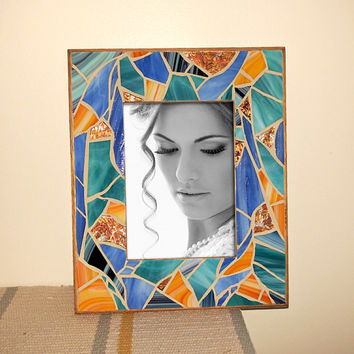 5x7 Colorful Beach Glass Mosaic Photo Frame, Orange Blue Mosaic Picture Frame, Nautical Photo Frame, Orange Mosaic Wall Decor