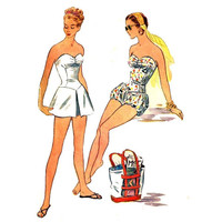 50s Retro Swimsuit with Bloomers or Skirt & Trunks Sewing Pattern McCall's Size 3165 Size 18 Bust 36