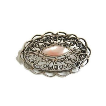Pierced Filigree Brooch with Mother of Pearl Inlay Sterling Silver, Oval Silver Brooch, Pierced Silver Scarf Brooch