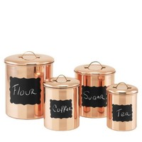 Old Dutch International Copper Chalkboard 4 Piece Kitchen Canister Set - Walmart.com