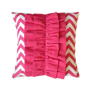 "Pink Chevron 18"" x 18"" Ruffle Pillow Cover"