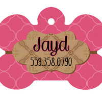 Pink Lattice Dog Tag, Custom Dog Tag, Pet ID, Dog ID, Pet Tag, Personalized Pet, Cat Tag, Cutom Pet Tag, Pink Pet Tag