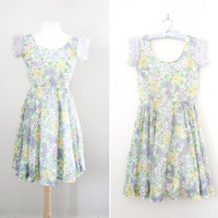 Vintage 1960's Eve Le Coq Flirty Floral Dress - Fit and Flare Spring Summer Dress - Size Small