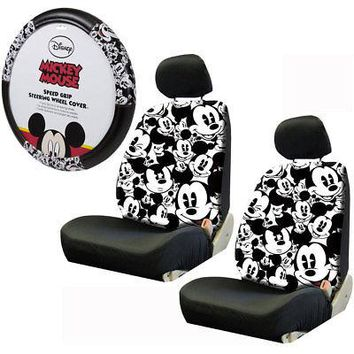 Licensed Official New Mickey Mouse Expression Car Truck 2 Front Seat Covers & Steering Wheel Cover