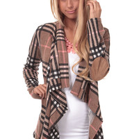 Taupe Plaid Cardigan with Elbow Patch