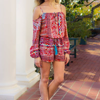 Red, White, and Gypsy Romper