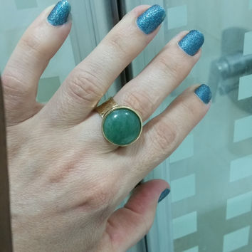 Aventurine ring, Gold statement ring, Gold ring, Large aventurine stone, Aventurine stone ring, Large ring, Hammered ring, Gemstone ring