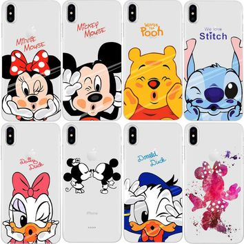 Minion Minnie Mickey Cases For iPhone X Cover for iPhone 4S 5C 5S 5 SE 6 6S 7 Plus Case Transparent Clear Silicone Case Fundas