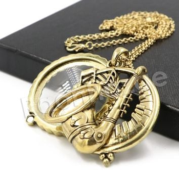 Antique Chain Saxophone Magnifying Glass Locket Pendant Necklace