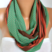Green Polka Dot Chiffon Infinity Scarf,Fall Scarf, Circle, Loop Scarf, Gift Ideas For Her, Women's Fashion Accessories Women Scarves