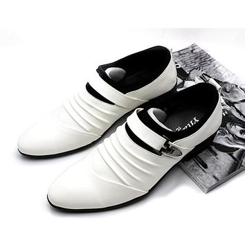 Men's Oxfords Men's Business Shoes Dress Mens Solid White Leather Shoes For Bridegroom Fashion Wedding Party Shoe Slip-On RM-299