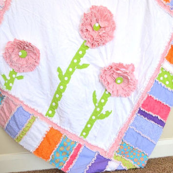 RAG QUILT, Ruffled Flower, Purple, Pink, Green, Toddler Bedding, Made to Order, Custom