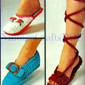 1970s Crochet Vintage Pattern - Rosebud Scuffs, Buckle Pilgrim Slippers, Ancient Greek Sandals - Great for Beginners fun - Direct from USA