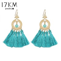 17KM 5 Color Cotton Tassel Dangle Earrings Hollow Long Big Earring Drops Bijoux Statement Jewelry for Women Ethnic Jewelry