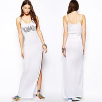White Wildfox Beverly Hills Printed Side Slit Maxi Dress