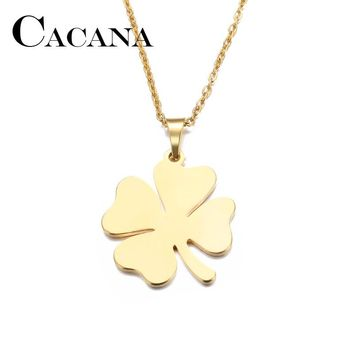 CACANA Stainless Steel Necklace For Women Man Lover's Clover Gold And Silver Color Pendant Necklace Engagement Jewelry